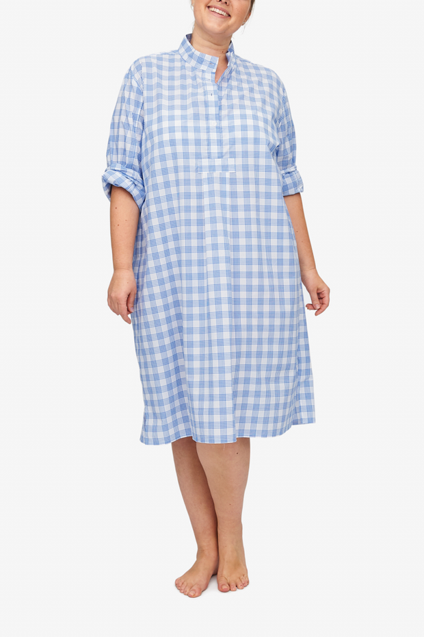 front view classic long sleep shirt plus size blue and white plaid cotton by the Sleep Shirt