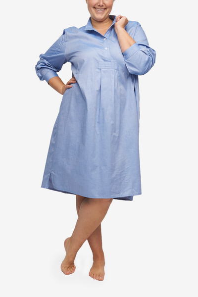 Plus Size Long Sleep Shirt in a blue cotton shirting. Makes looking put togetherall the more simple. Roll out of bed and get on that work call without a second thought.