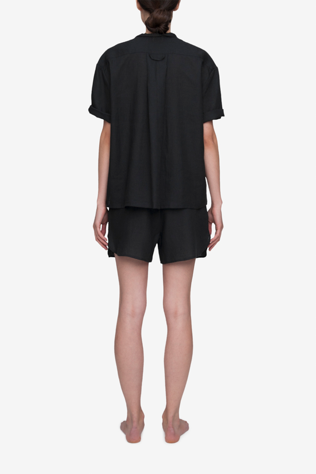 Set - Short Sleeve Cropped Sleep Shirt and Curved Hem Short Black Linen