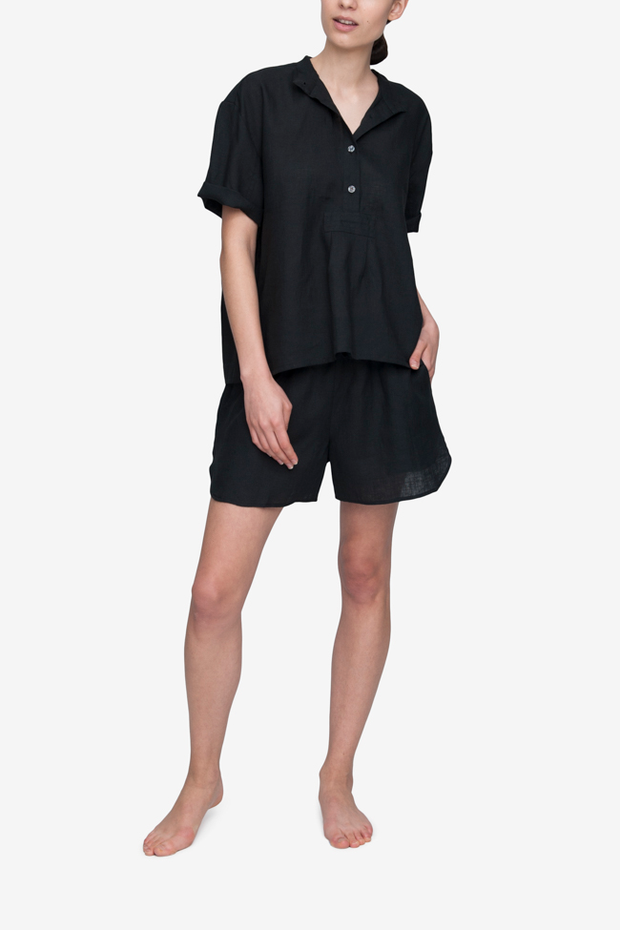 front view buttoned t-shirt top short with drawstring shorts pyjama set black linen by the Sleep Shirt