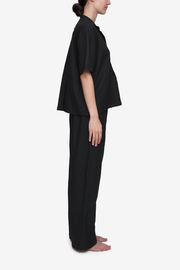 Short Sleeve Cropped Sleep Shirt Black Linen