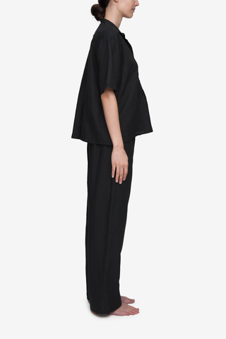 Set - Short Sleeve Cropped Sleep Shirt and Lounge Pant Black Linen