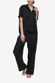 front view short sleeve t-shirt lounge pants pyjama set in black linen by The Sleep Shirt