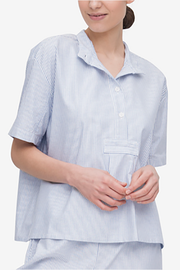 Short Sleeve Cropped Shirt Blue Oxford Stripe