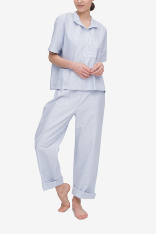 front view of short sleeve cropped sleep shirt and lounge pant set blue oxford stripe by The Sleep Shirt