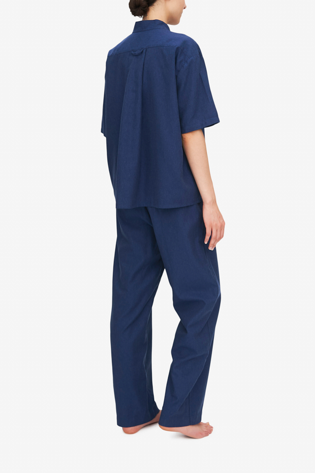 Set - Short Sleeve Cropped Sleep Shirt and Lounge Pant Midnight Twill