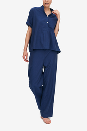 front view lounge pant and shirt sleeve top set midnight blue twill cotton by the Sleep Shirt