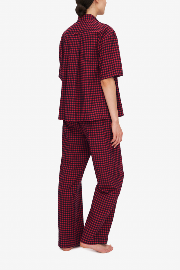 Short Sleeve Cropped Sleep Shirt Red Buffalo Check