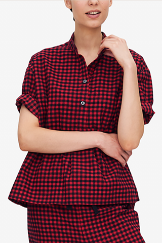 front view short sleeve sleep shirt red and black buffalo check cotton by the Sleep Shirt