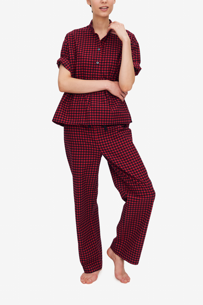 front view lounge pant and top pajama set in midnight blue twill cotton by the Sleep Shirt