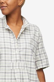 Short Sleeve Cropped Shirt Grey Plaid Flannel