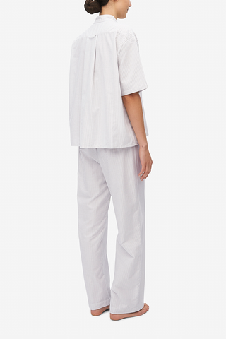 Set - Short Sleeve Cropped Sleep Shirt and Lounge Pant Dove Grey Stripe