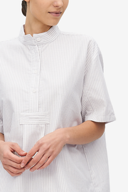 Short Sleeve Cropped Sleep Shirt Dove Grey Stripe Flannel