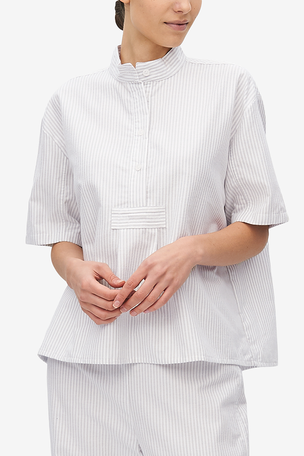 Set - Short Sleeve Cropped Sleep Shirt and Lounge Pant Dove Grey Stripe Flannel