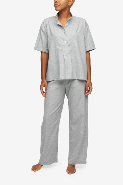 The Sleep Shirt's best-selling pyjama set in a beautiful cotton and cashmere blend, now in a light grey. Shirt Sleeve top and pant set.