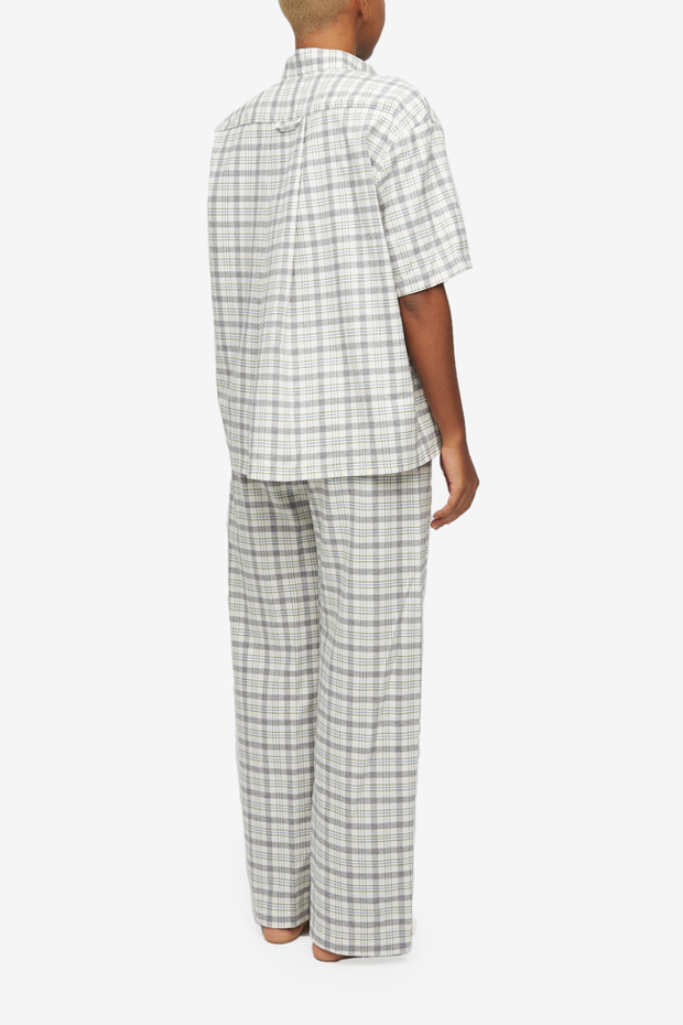 Set - Short Sleeve Cropped Sleep Shirt and Lounge Pant Grey Plaid Flannel