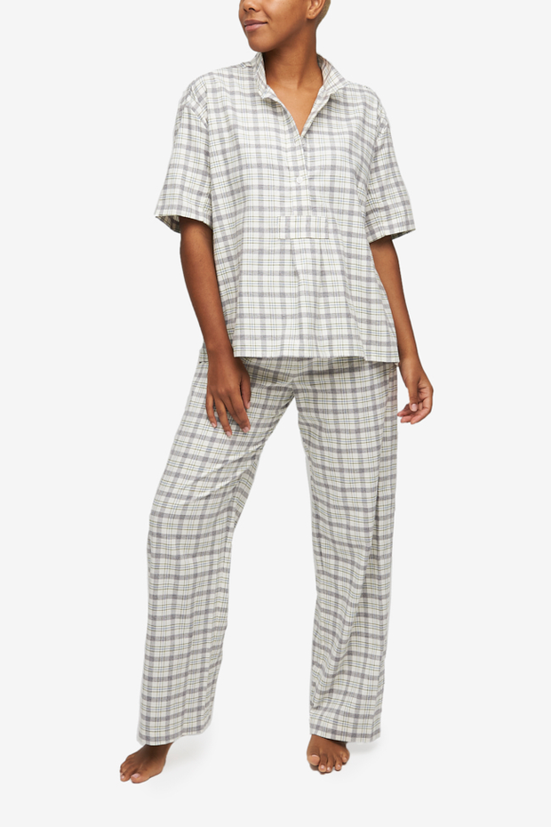 Short sleeve shirt and lounge pant pajama set by The Sleep Shirt in a cream-based with grey and green plaid cotton flannel.