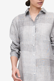 Button Down Sleep Shirt Amelia Linen Check