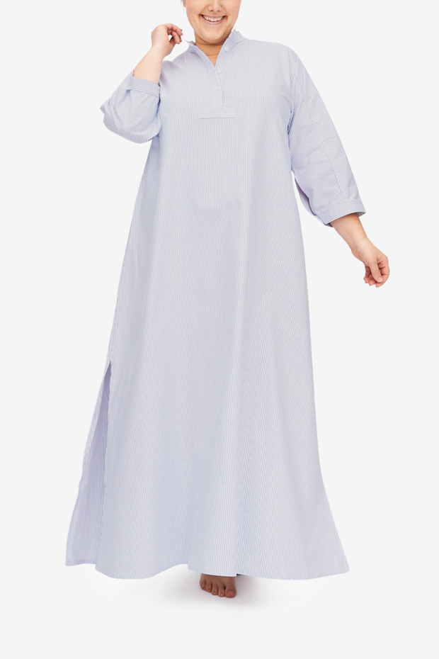 Floor-length Sleep Shirt Chemise in blue and white striped oxford cotton. Three-quarter sleeves and a stand collar.