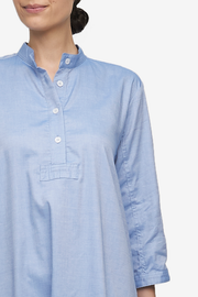 Full Length Sleep Shirt Blue Classic Oxford