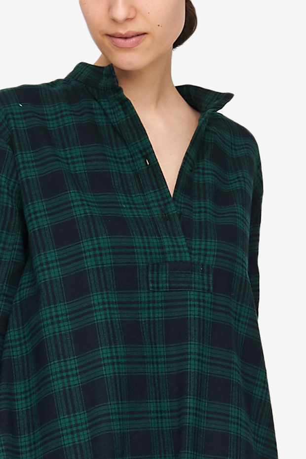 Full Length Sleep Shirt Green Check Flannel
