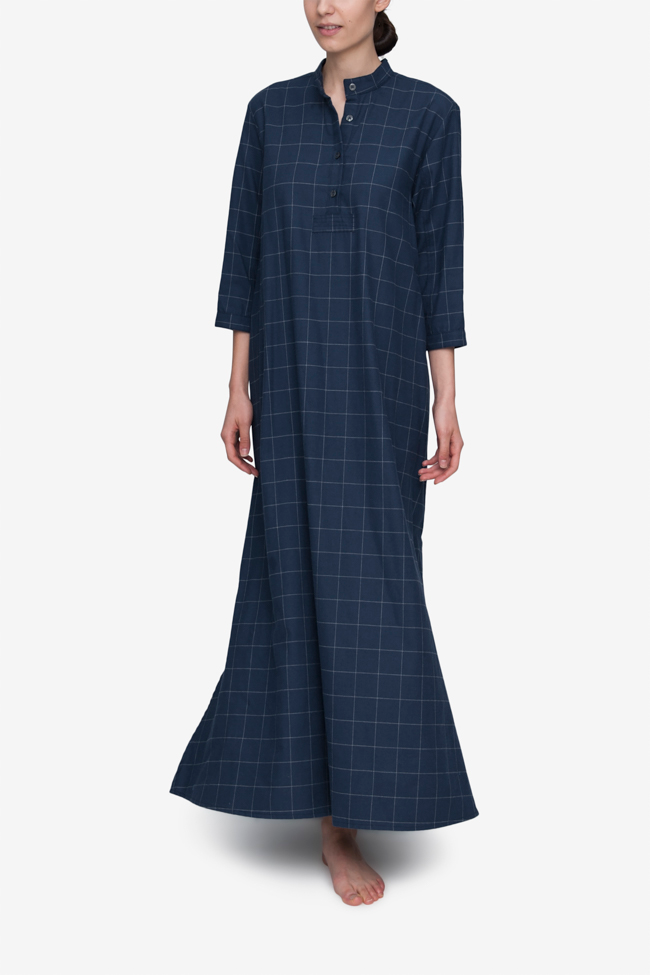 front view floor length sleep shirt navy windowpane flannel cotton by the  Sleep Shirt ... 3c6779a54