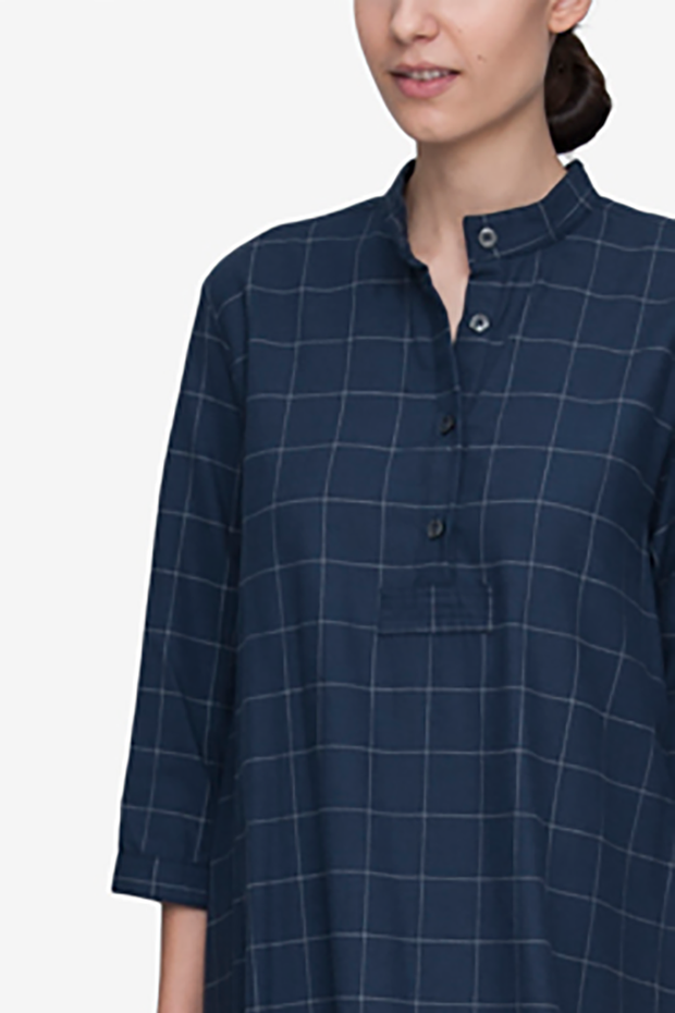 Full Length Sleep Shirt Navy Windowpane Flannel