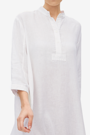 Full Length Sleep Shirt White Linen