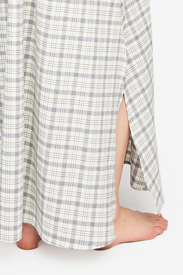 Full Length Sleep Shirt Grey Plaid Flannel