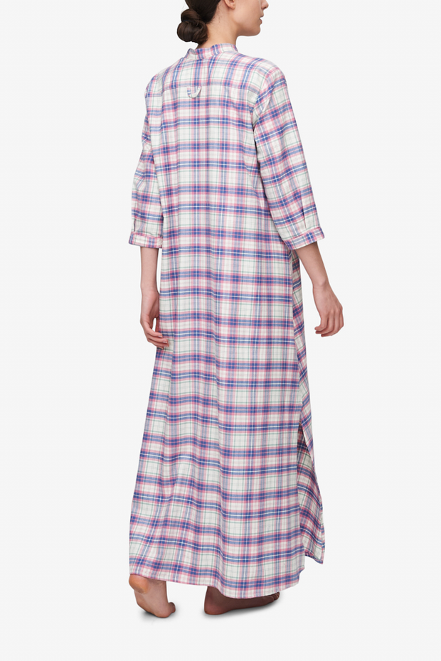 Back of a Morocco chemise style nightshirt in a pink check fabric