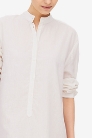 Ankle Length Sleep Shirt Cream Linen Blend