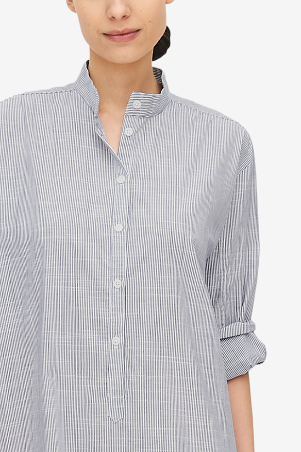 Ankle Length Sleep Shirt Navy Pinstripe