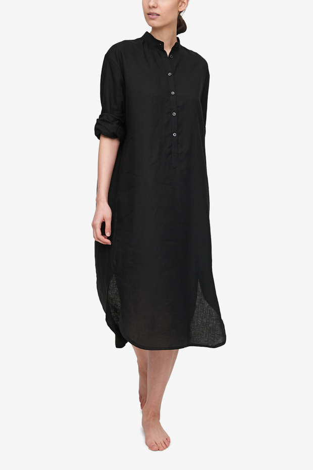 Ankle Length Sleep Shirt Black Linen
