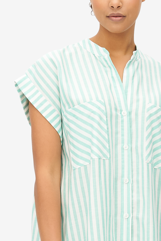 Two Pocket Sleep Shirt Green Stripe Twill
