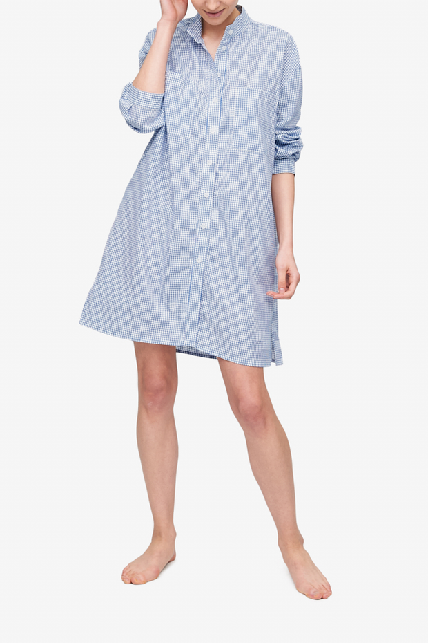 front view sleep shirt with placket blue and white check cotton linen blend by The Sleep Shirt