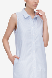 Long Sleeveless Sleep Shirt Blue Oxford Stripe