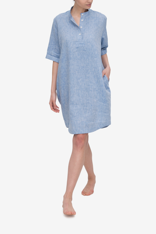 Mid Sleeve Sleep Shirt Blue Linen