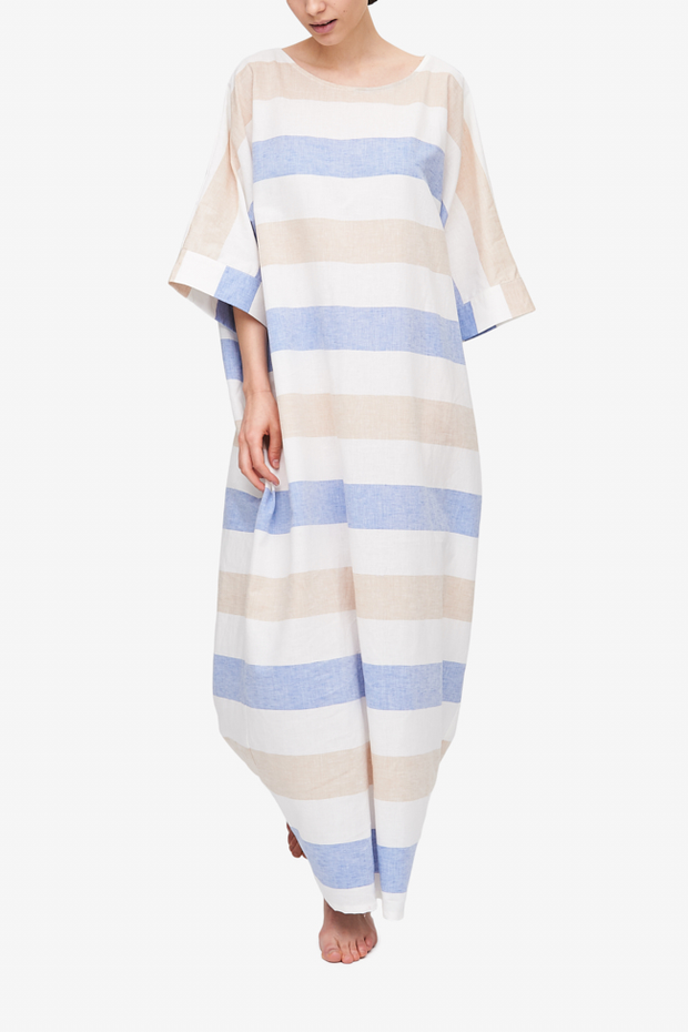 front view oversized kaftan blue tan and white stripe linen cotton blend by The Sleep Shirt