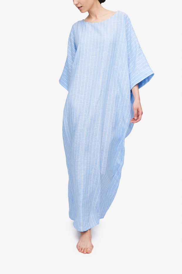 front view oversized kaftan blue with white stripe linen by The Sleep Shirt