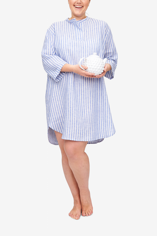 front view plus size slip on sleep shirt in blueberry linen stripe by The Sleep Shirt