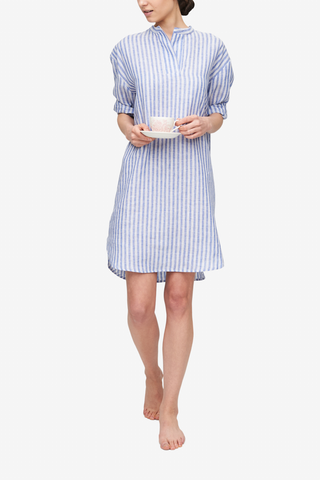 front view slip on sleep shirt in blueberry linen stripe by The Sleep Shirt