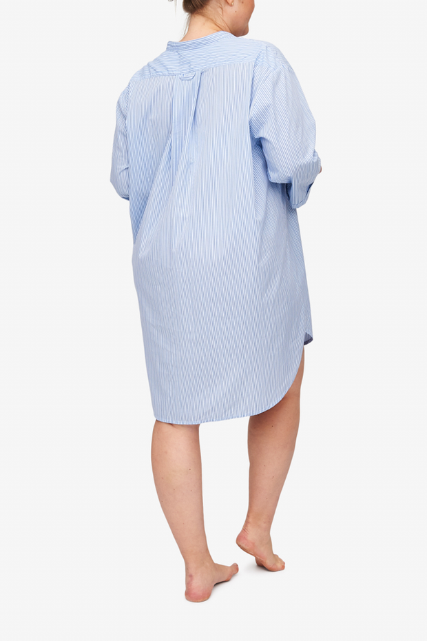 Slip On Sleep Shirt Cook's Blue Stripe PLUS