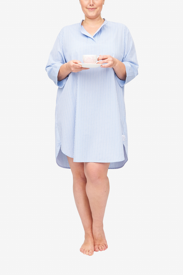 front view slip on sleep shirt plus size in cook's blue stripe cotton by The Sleep Shirt