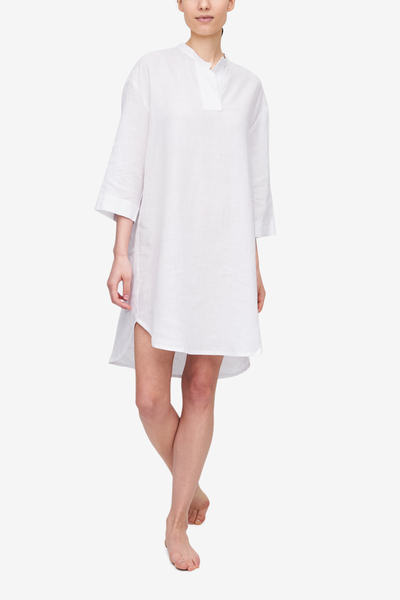 front view slip on sleep shirt white linen by the Sleep Shirt