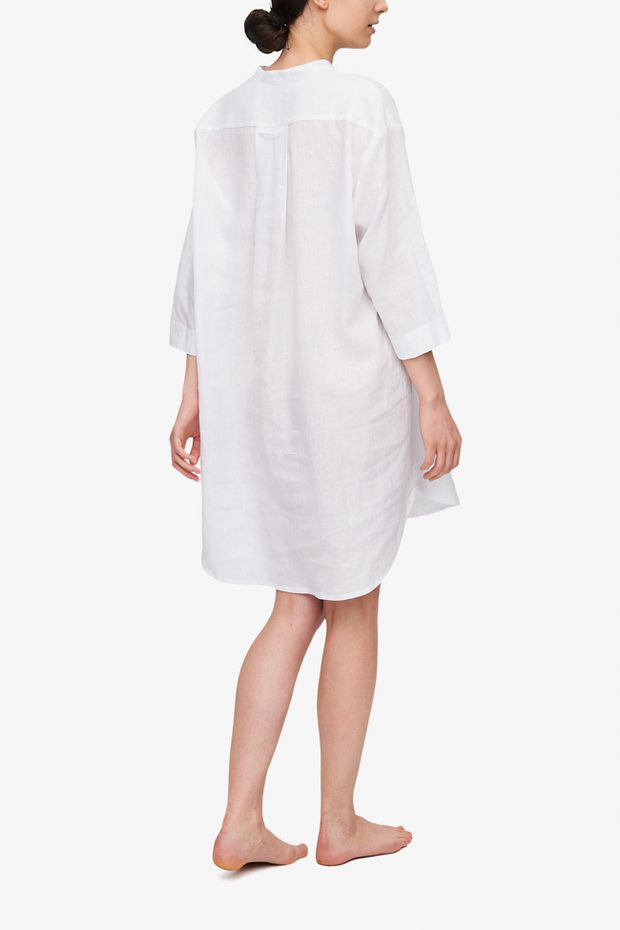 Slip On Sleep Shirt White Linen