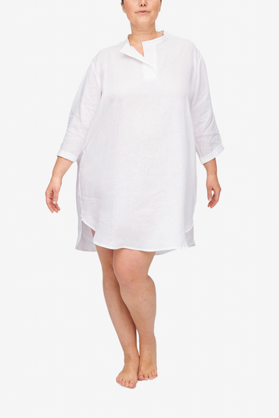 front view Plus size slip on sleep shirt white linen by the Sleep Shirt