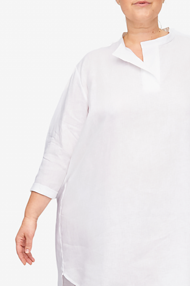Slip On Sleep Shirt White Linen PLUS