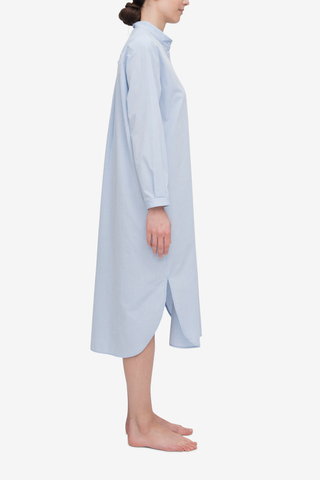 Long Placket Sleep Shirt Blue Seersucker