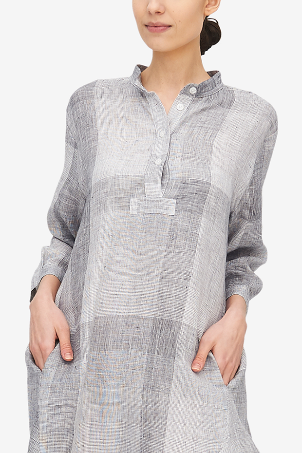 Flared Sleep Shirt Amelia Linen Check
