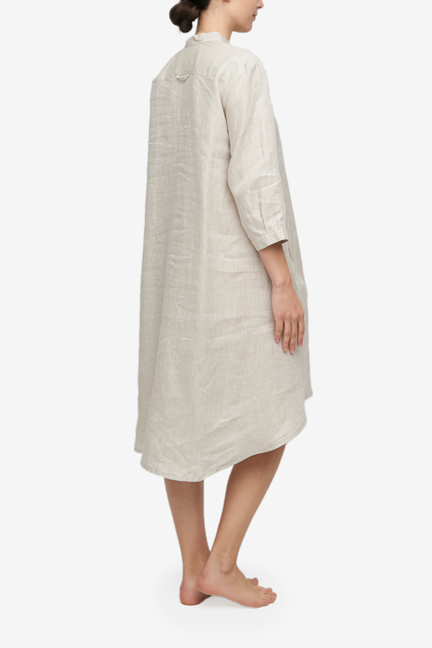 Flared Sleep Shirt Sand Linen